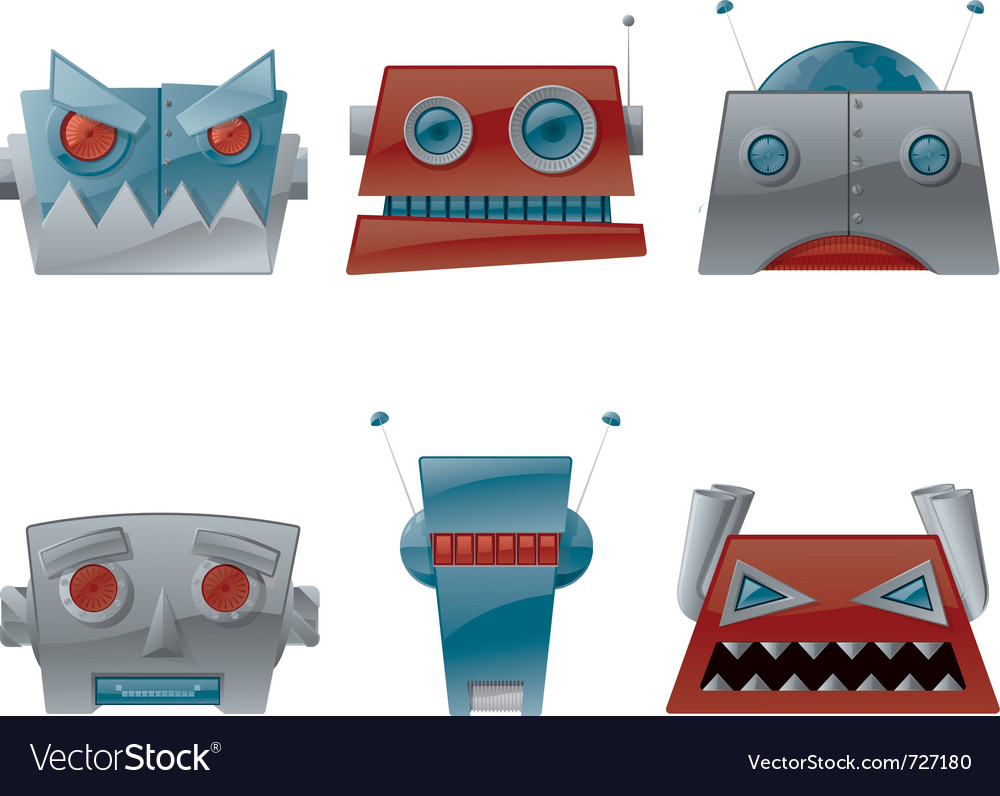 Cartoon robot heads ve...
