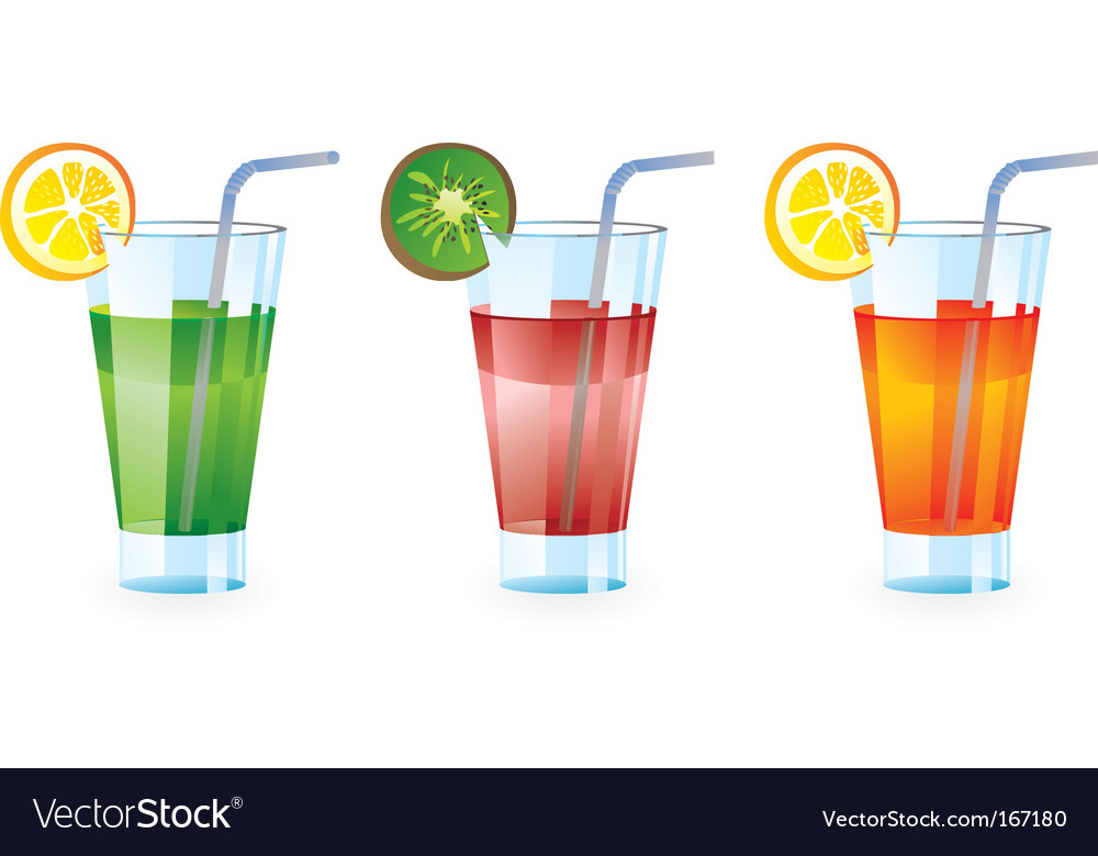 Set of colorful cocktails vector