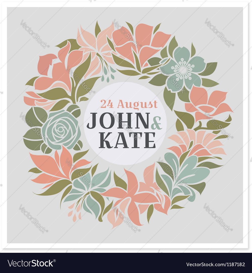 Floral wreath  wedding design vector