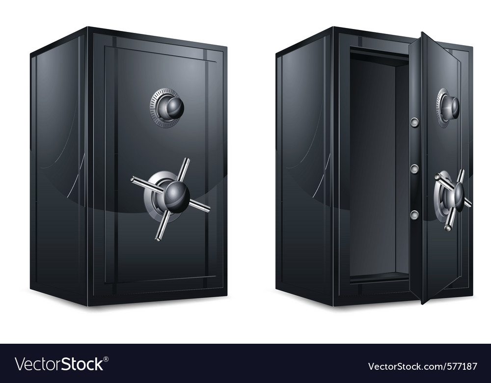Metal bank safes vector