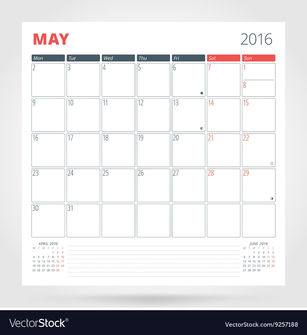Calendar Planner For May : Calendar planner for year may design print vector by