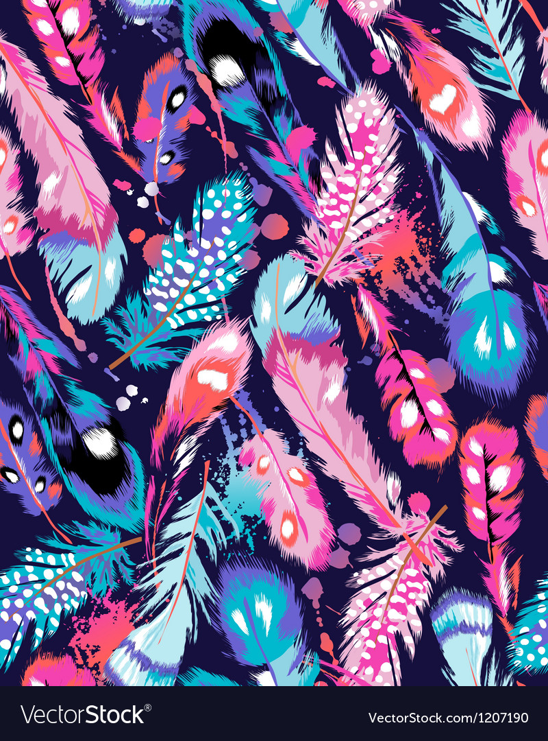 Blue and pink feathers on navy background vector