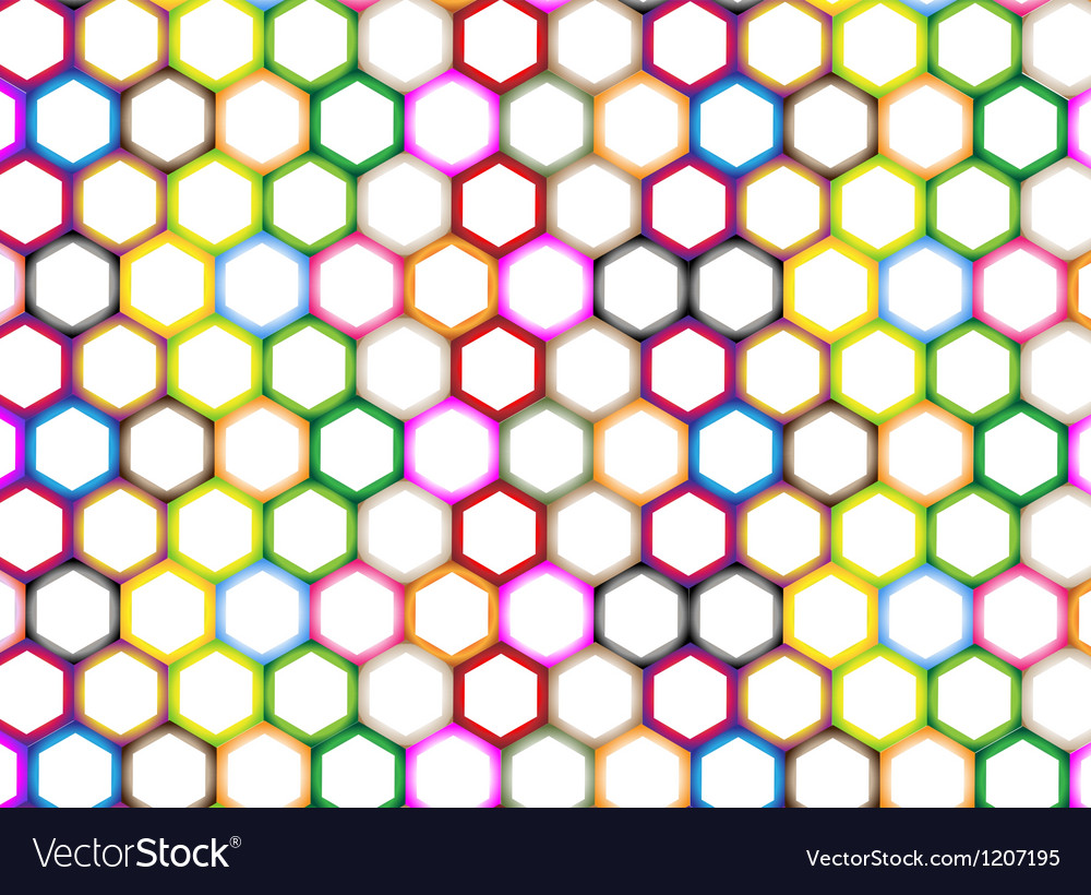 Multi colors of hexagon on white background vector