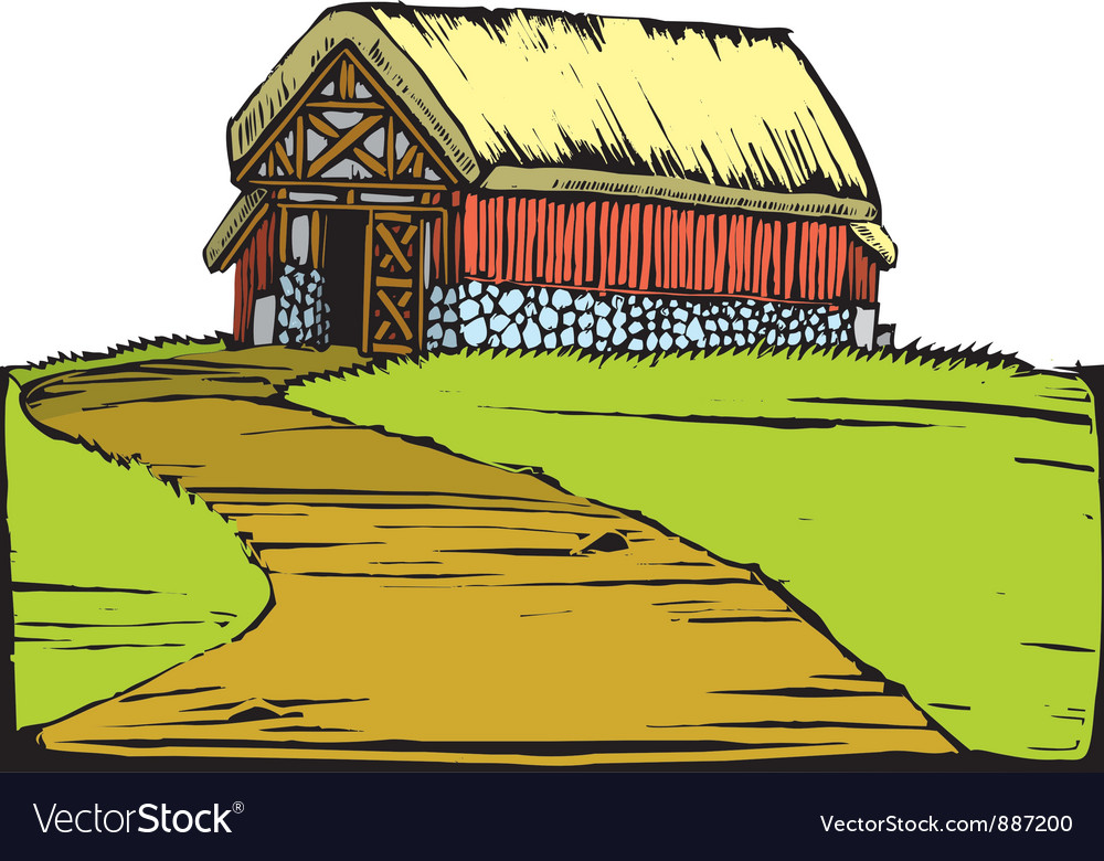 Barn on hill vector