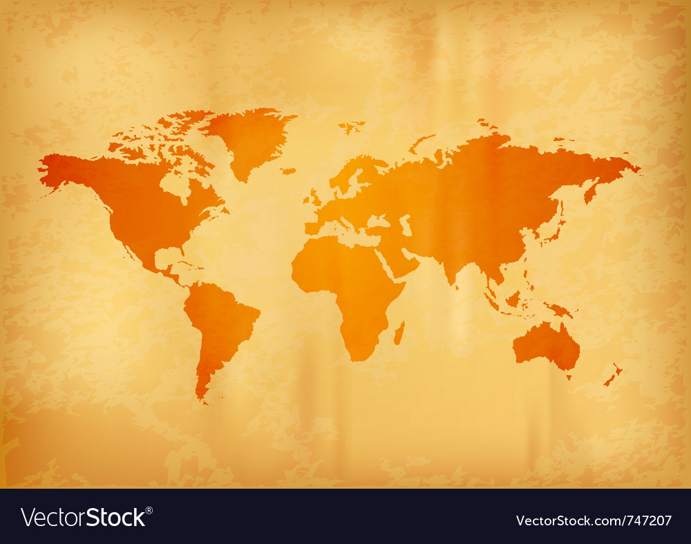 Map of the world on the old paper vector