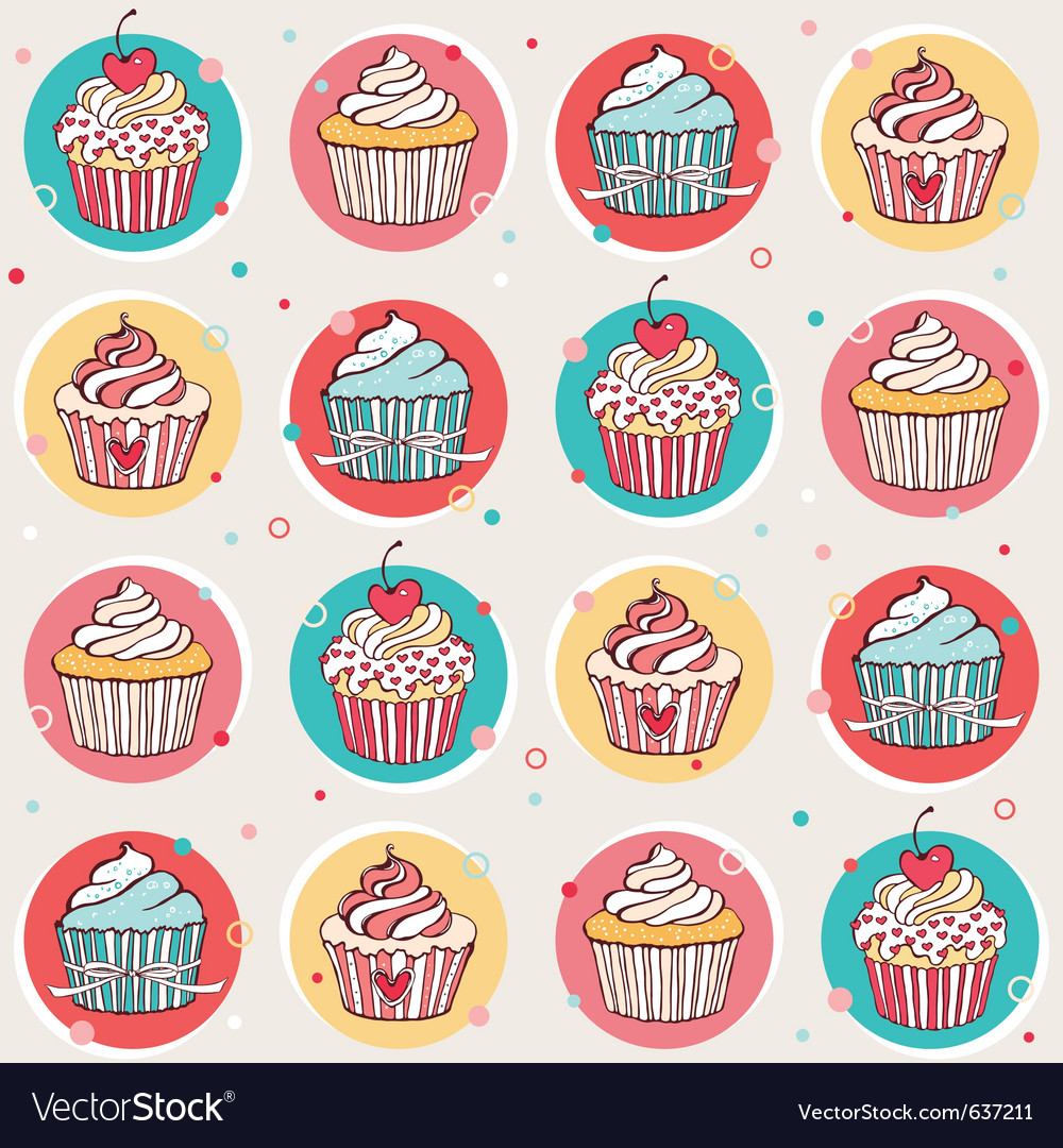 Seamless pattern with cupcakes vector