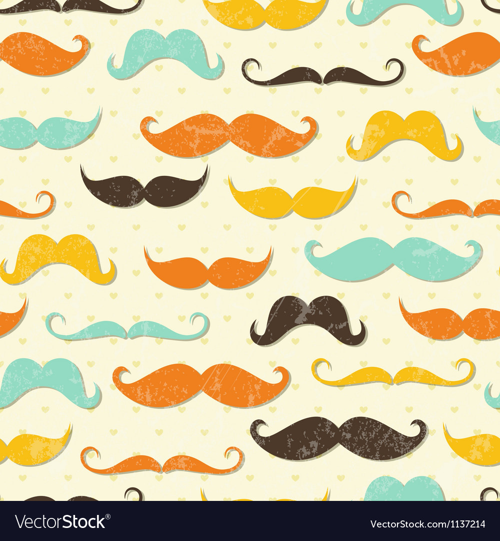Mustache seamless pattern vector