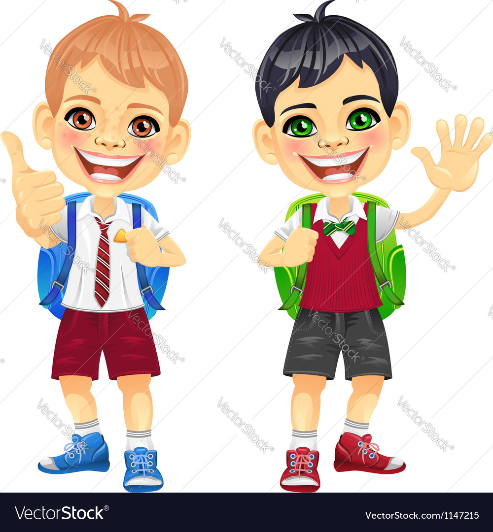 Happy smiling schoolchildren boys vector
