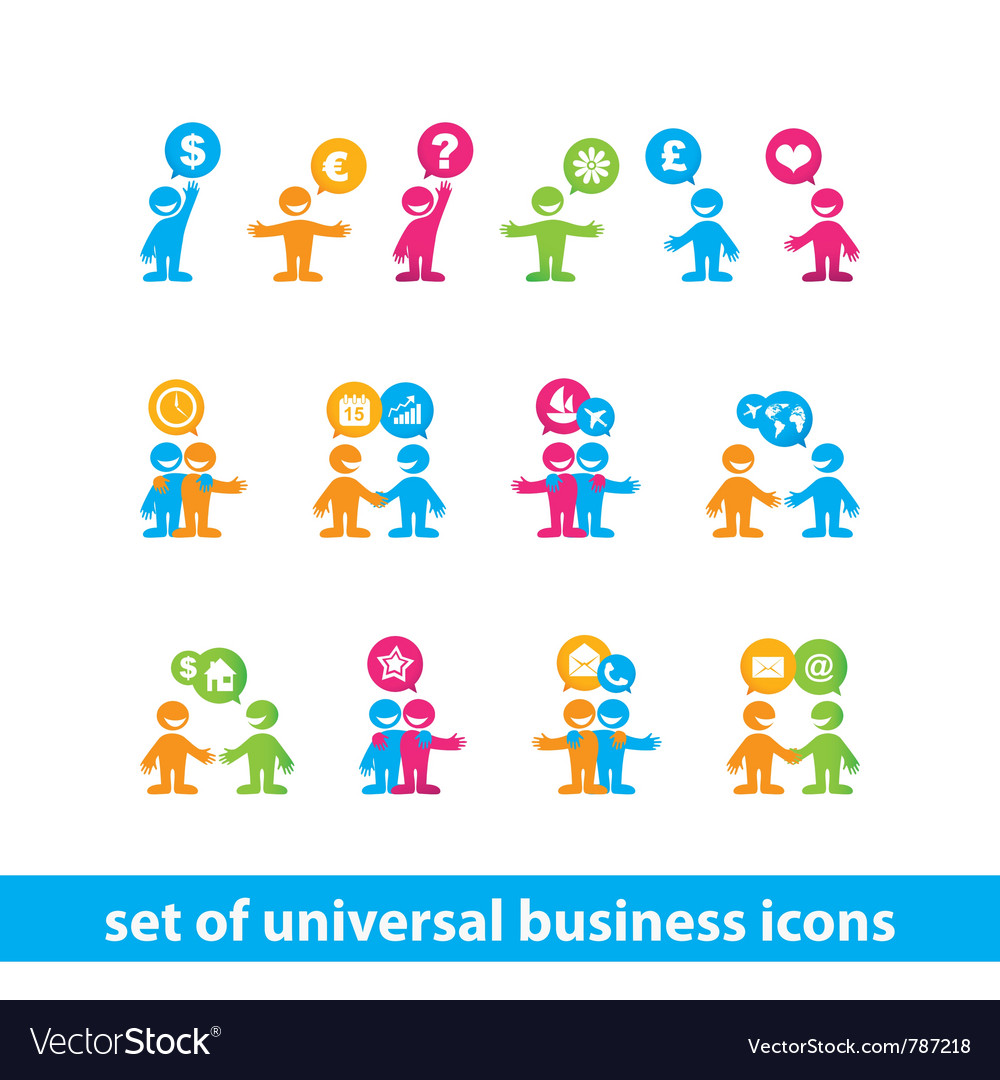 Universal business icons vector