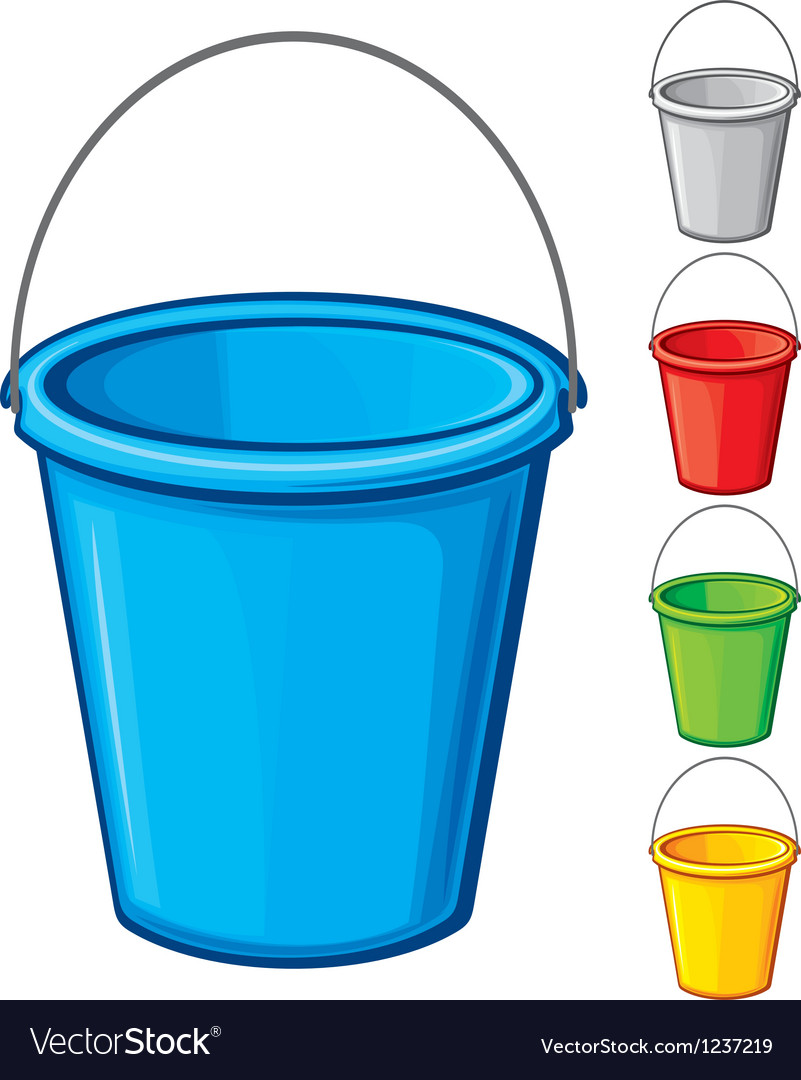 Colored bucket with handle vector
