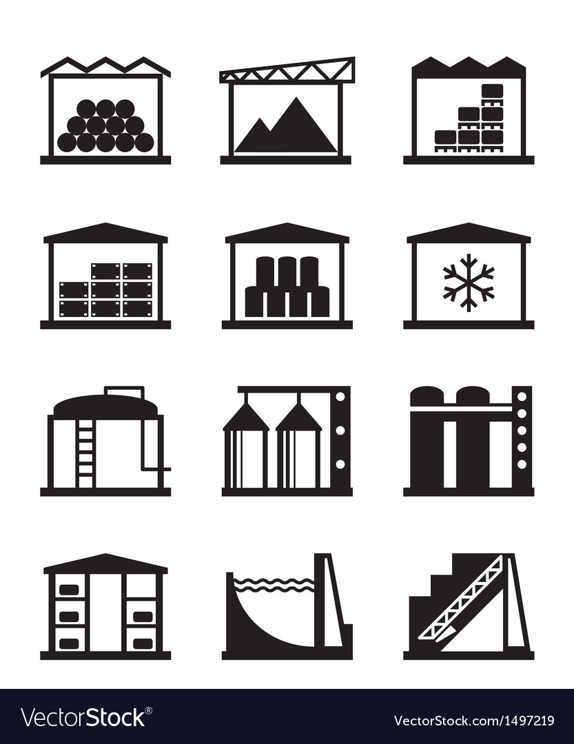 Industrial and commercial warehouses vector