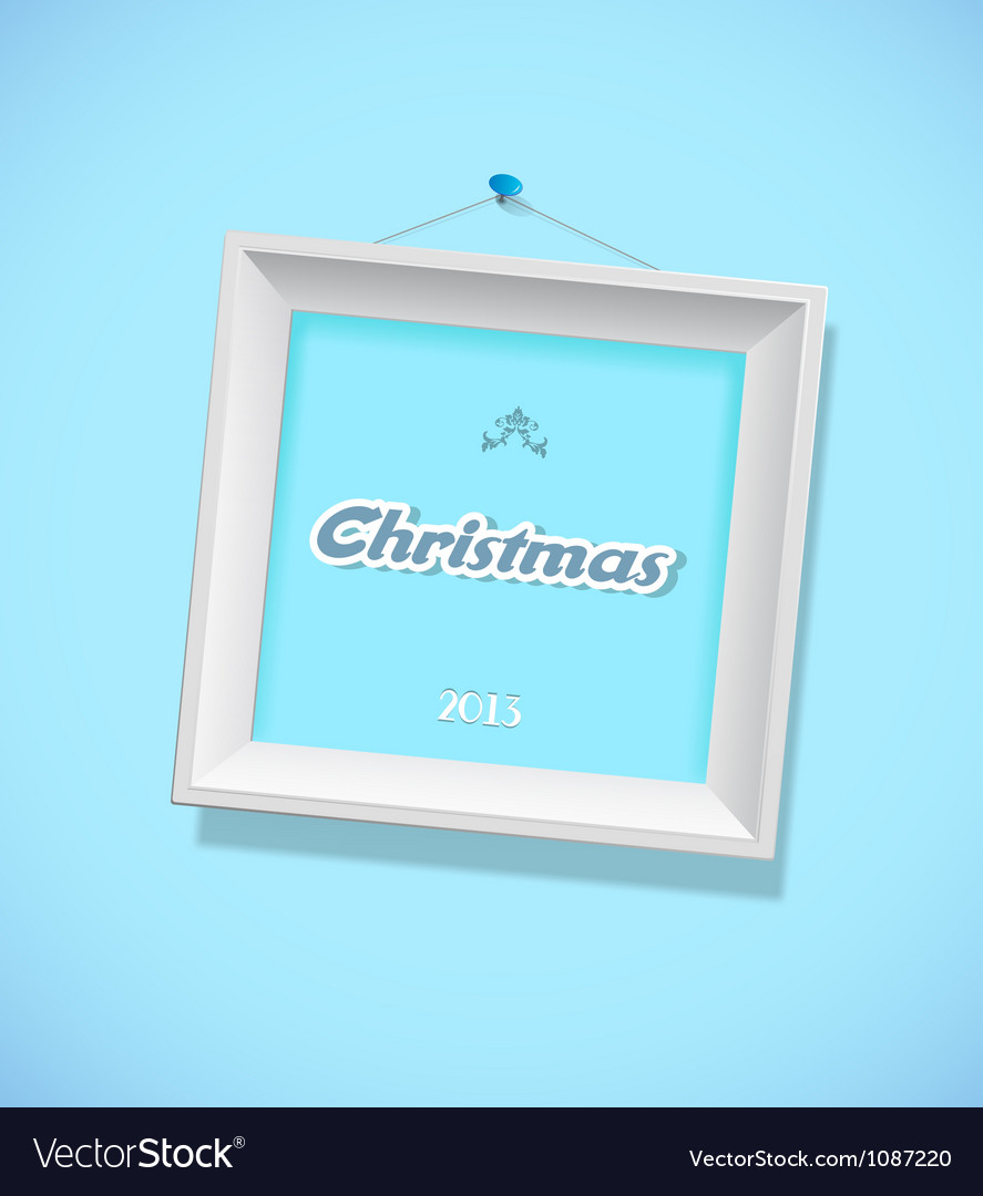 Christmas sign with picture frame vector