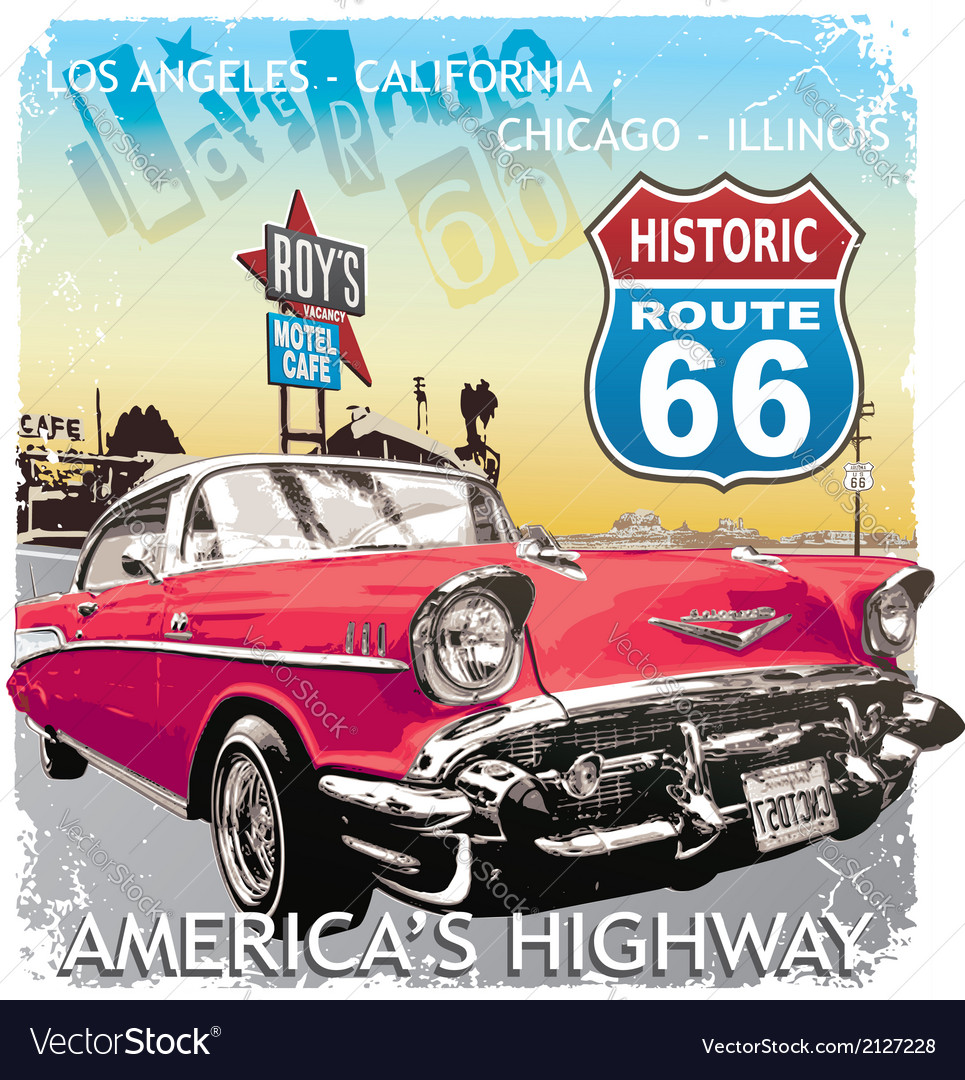 Route66 classic car vector