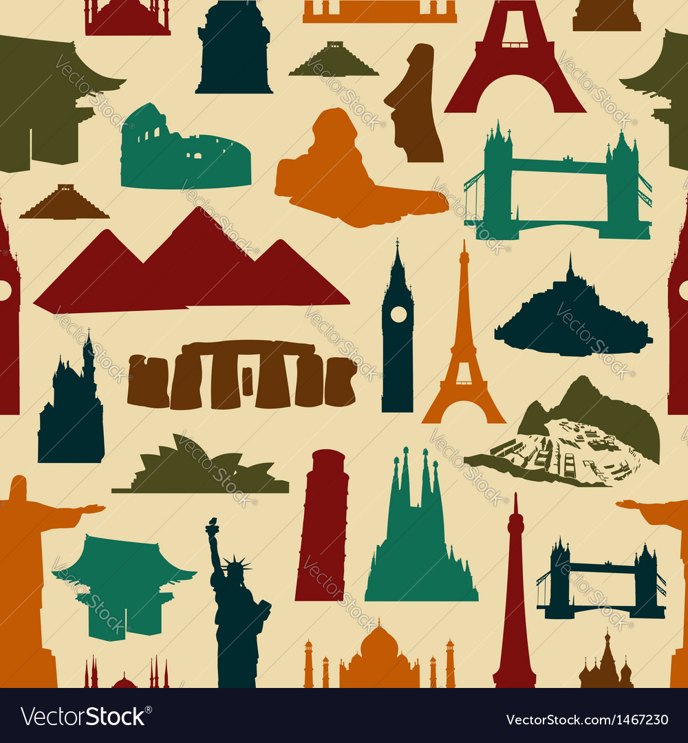 World landmark silhouettes pattern vector