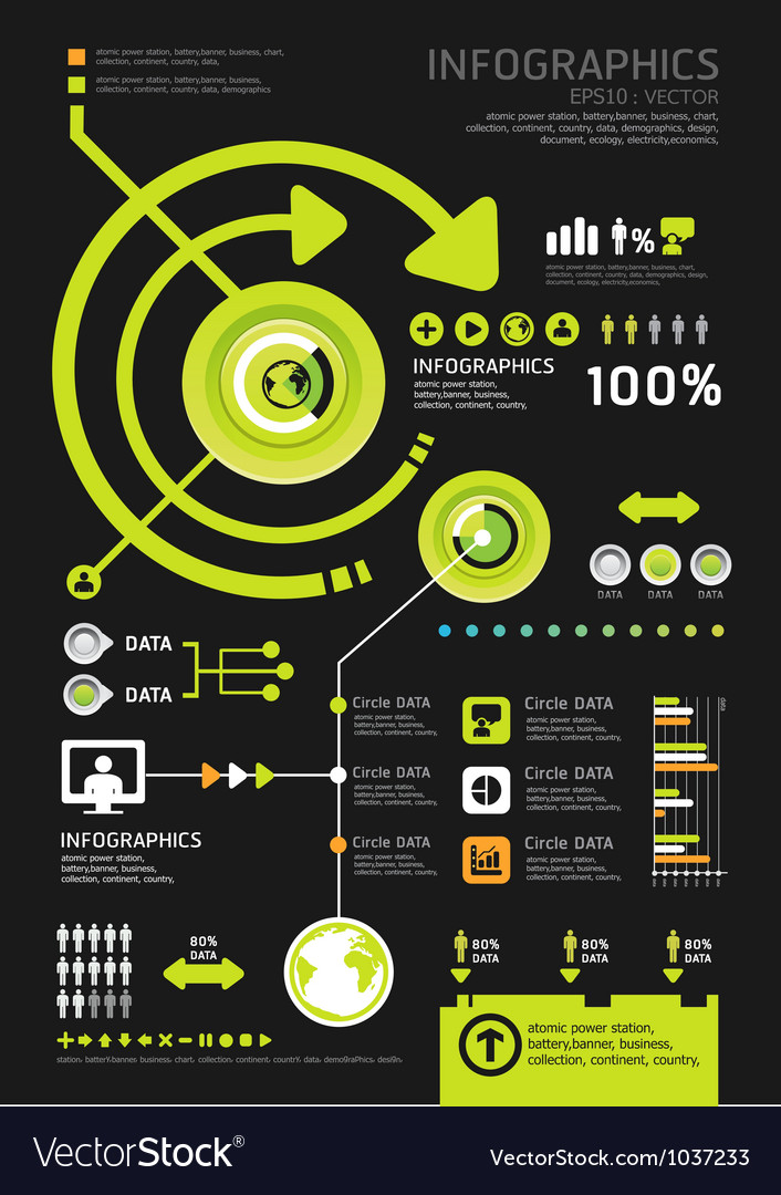 Infographics set and information technology vector