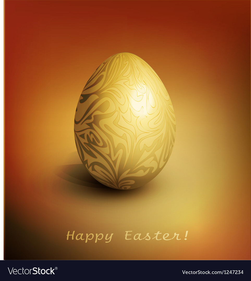 Easter background with gold filigree egg vector