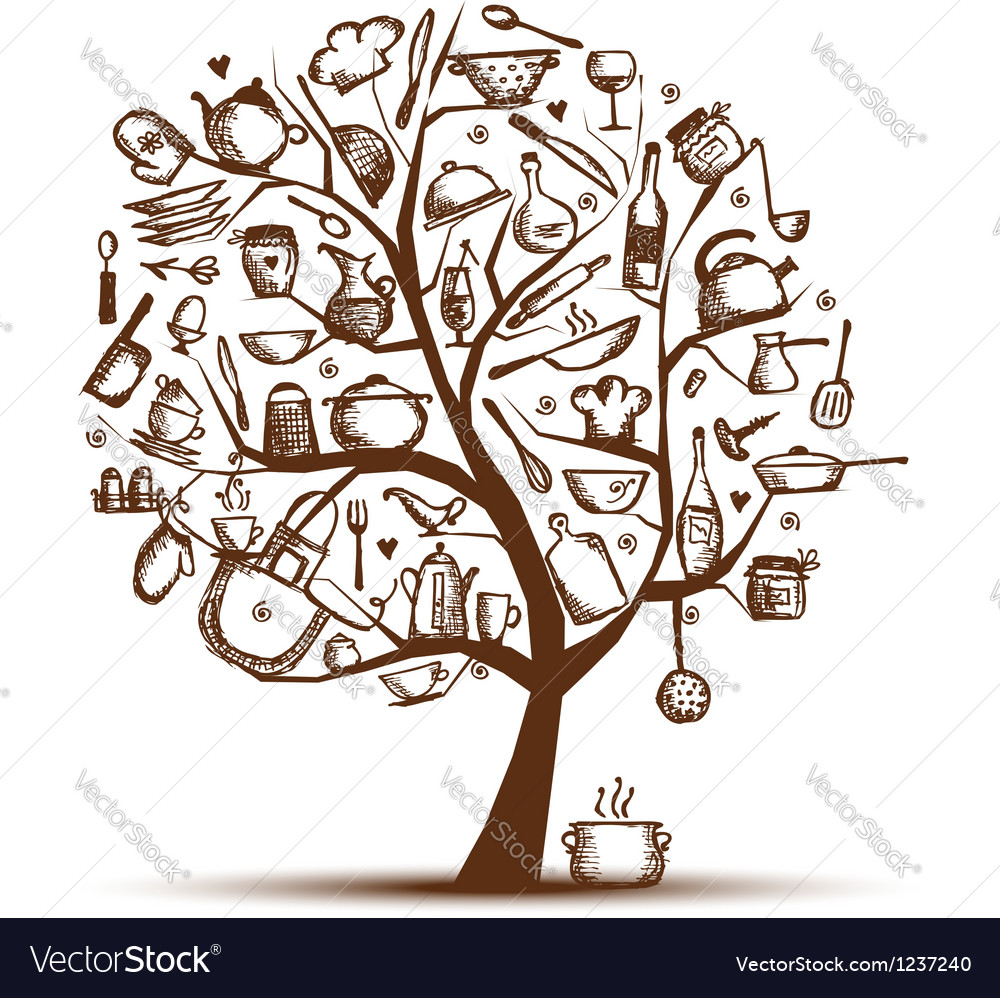 Art tree with kitchen utensils sketch drawing for vector