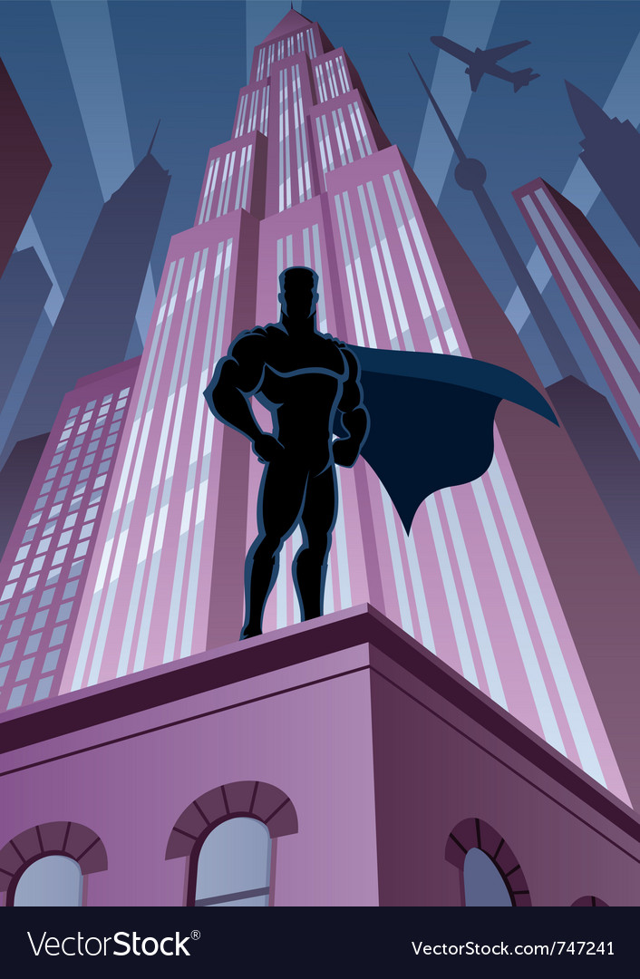 Superhero in city vector