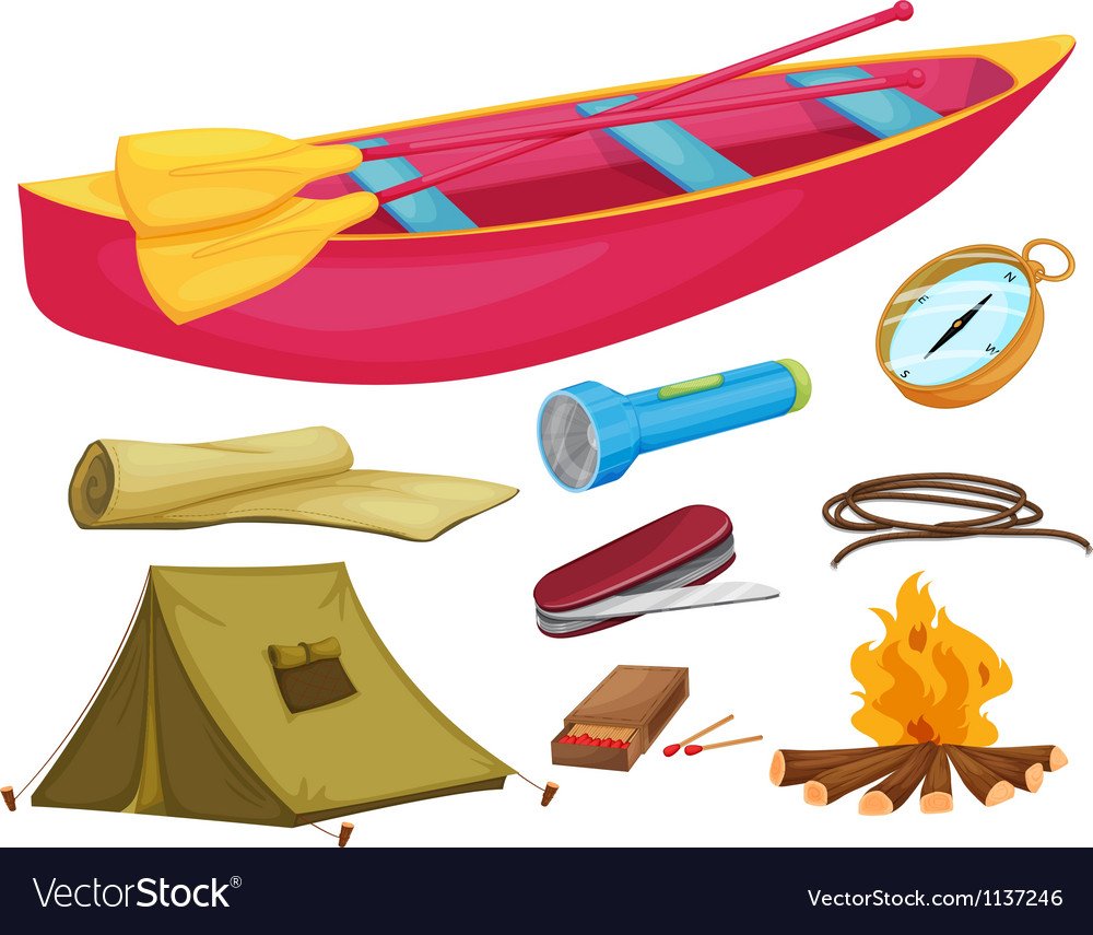 Various camping objects vector