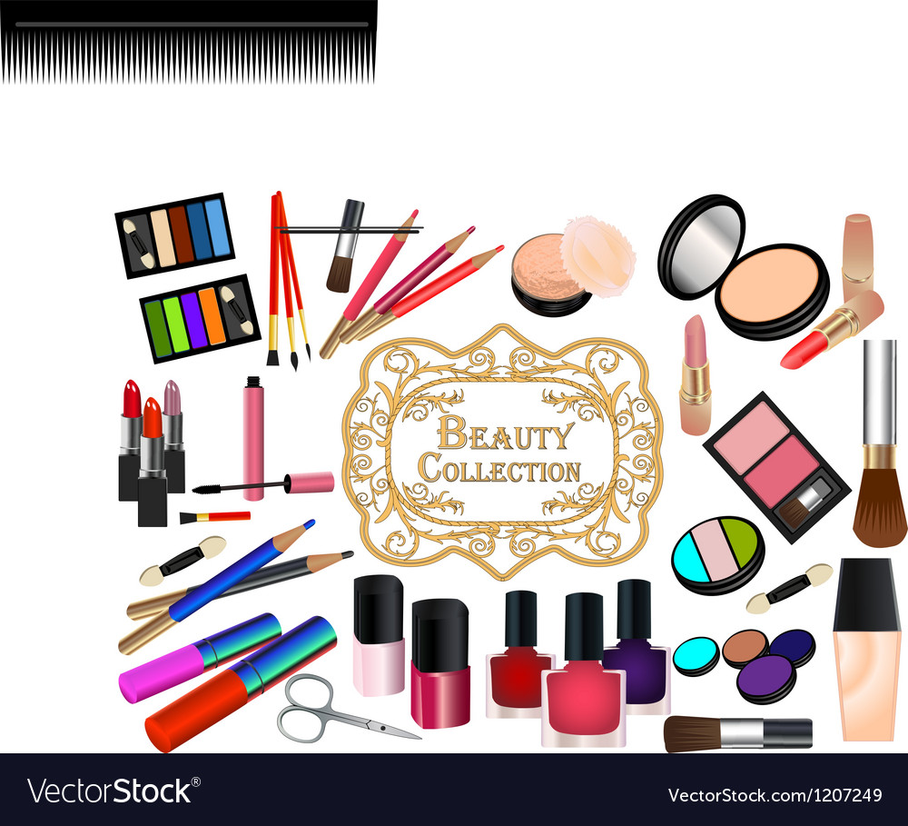 Collection of cosmetic elements vector
