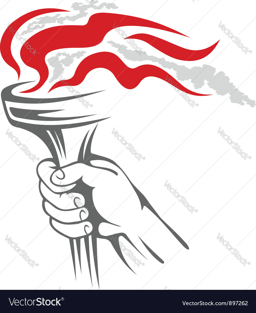 Flaming torch in people hand vector