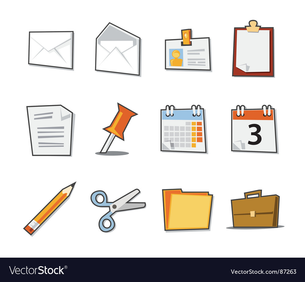 Office icons fresh collection vector