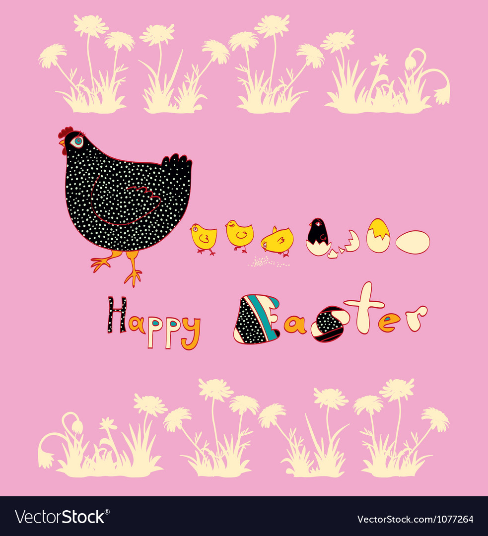 Easter beautiful chicken and cute chicks vector