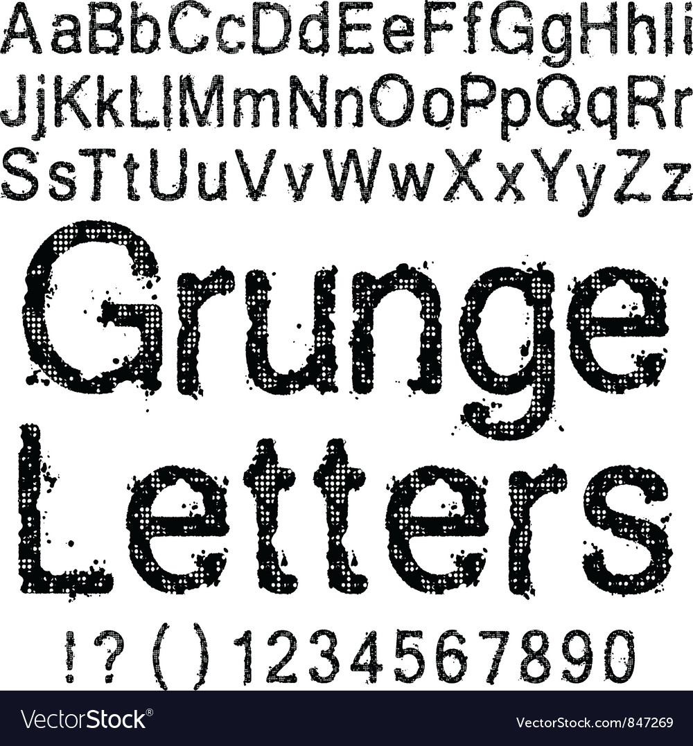 Grunge letters and numbers vector