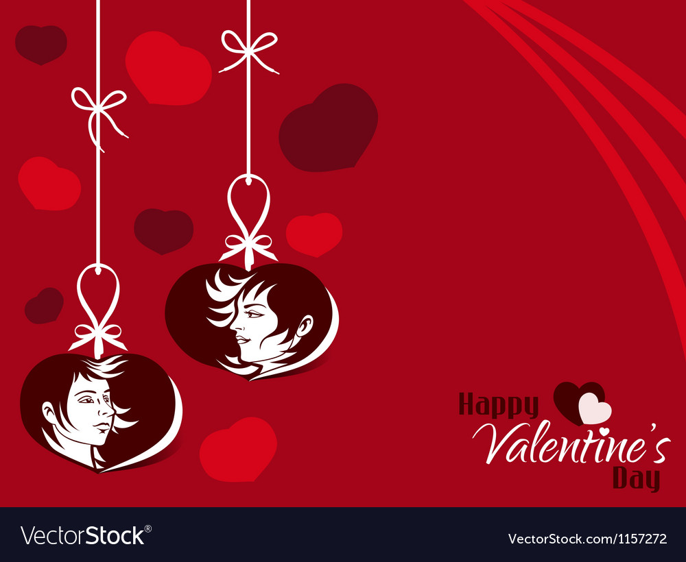 Valentine couple hanging tag background vector