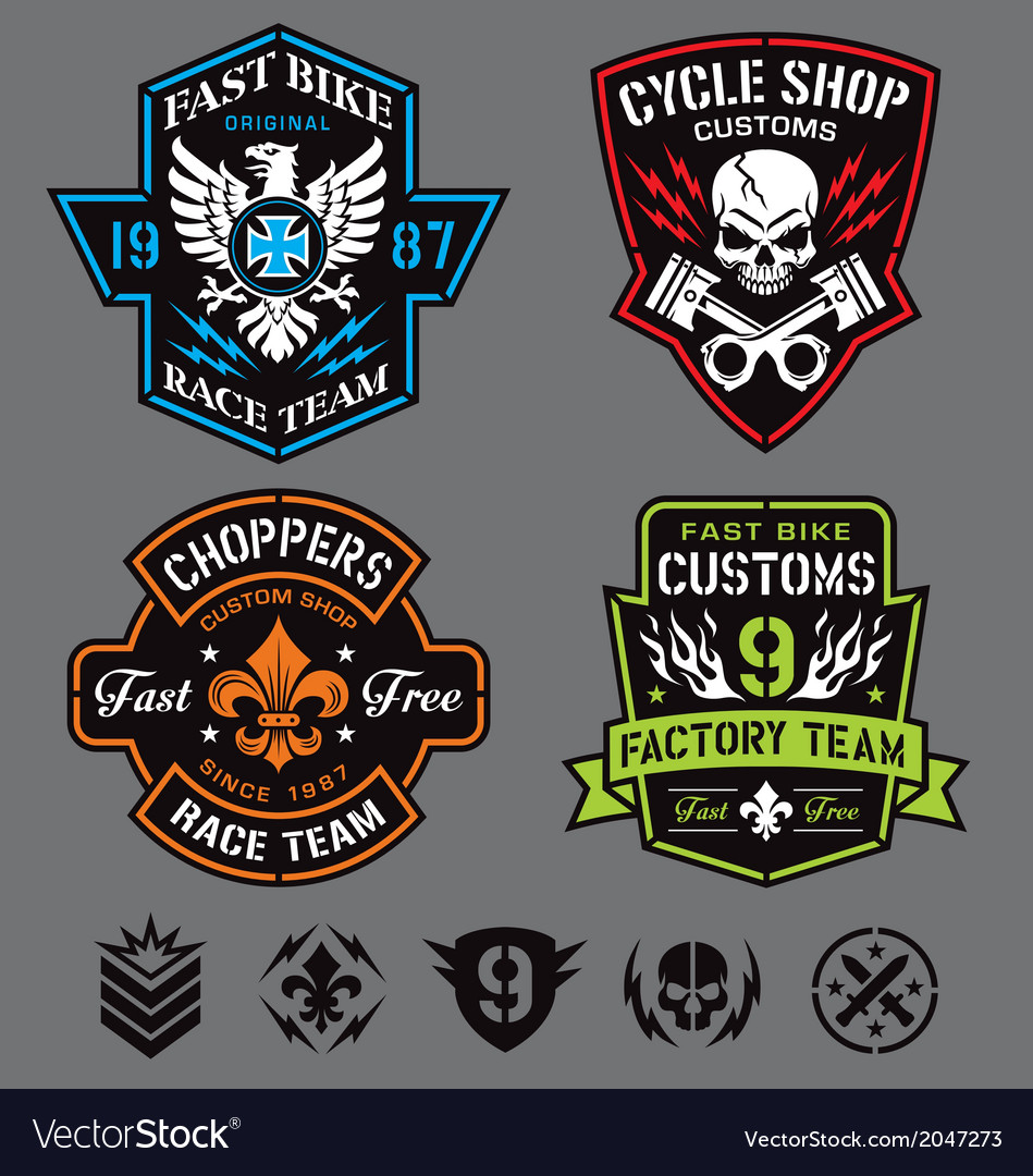 Motorcycle patches vector