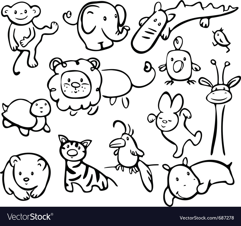 Silhouettes of animals vector