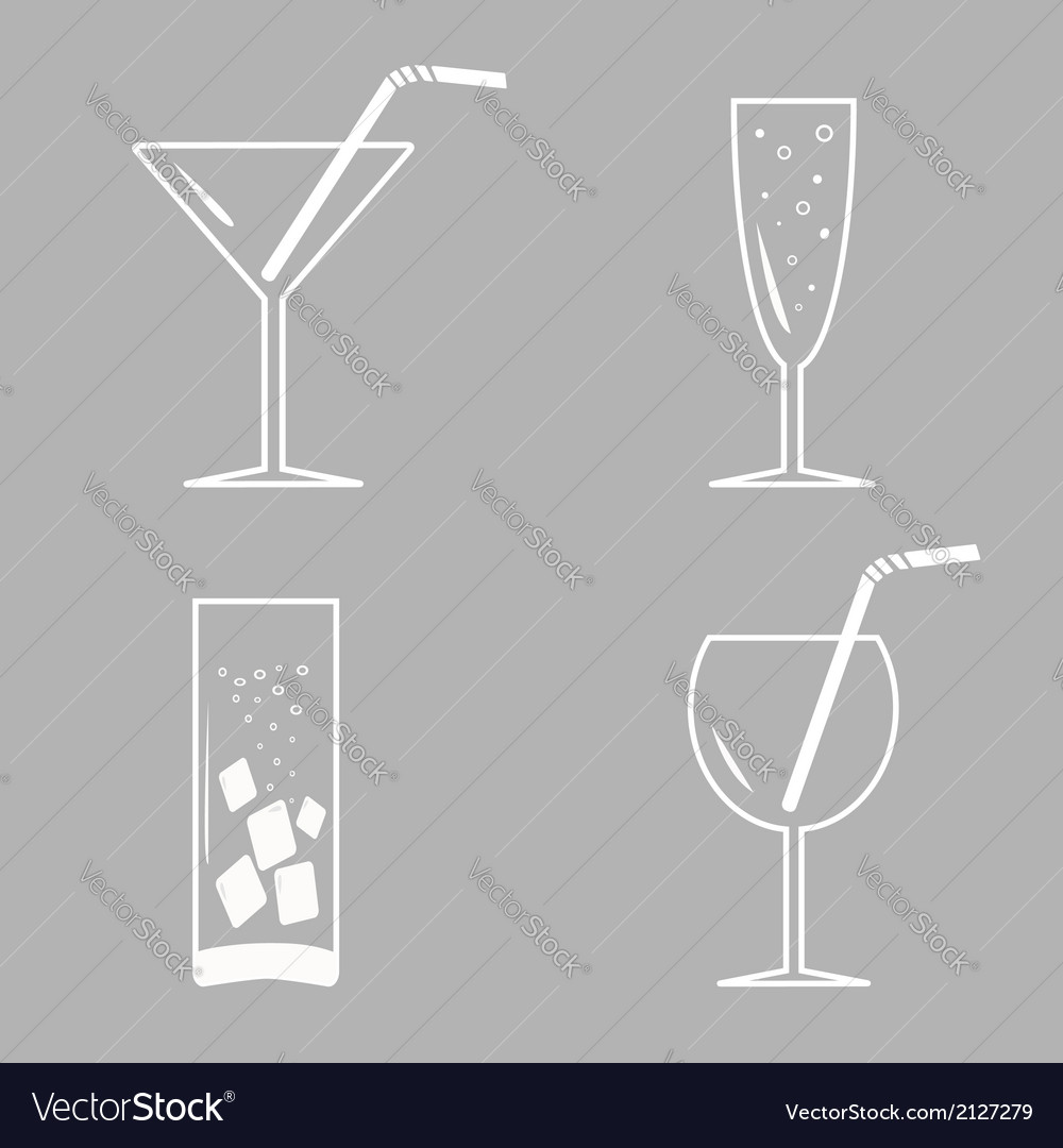 Drinks cocktails white icon set vector