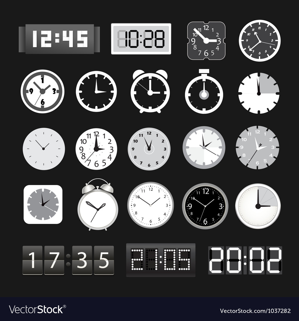 Black and white different clocks collection vector