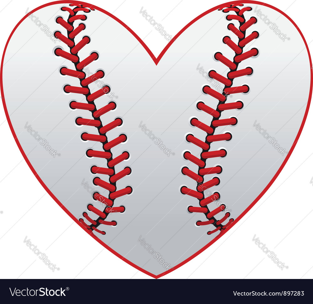 Baseball leather ball as a heart vector