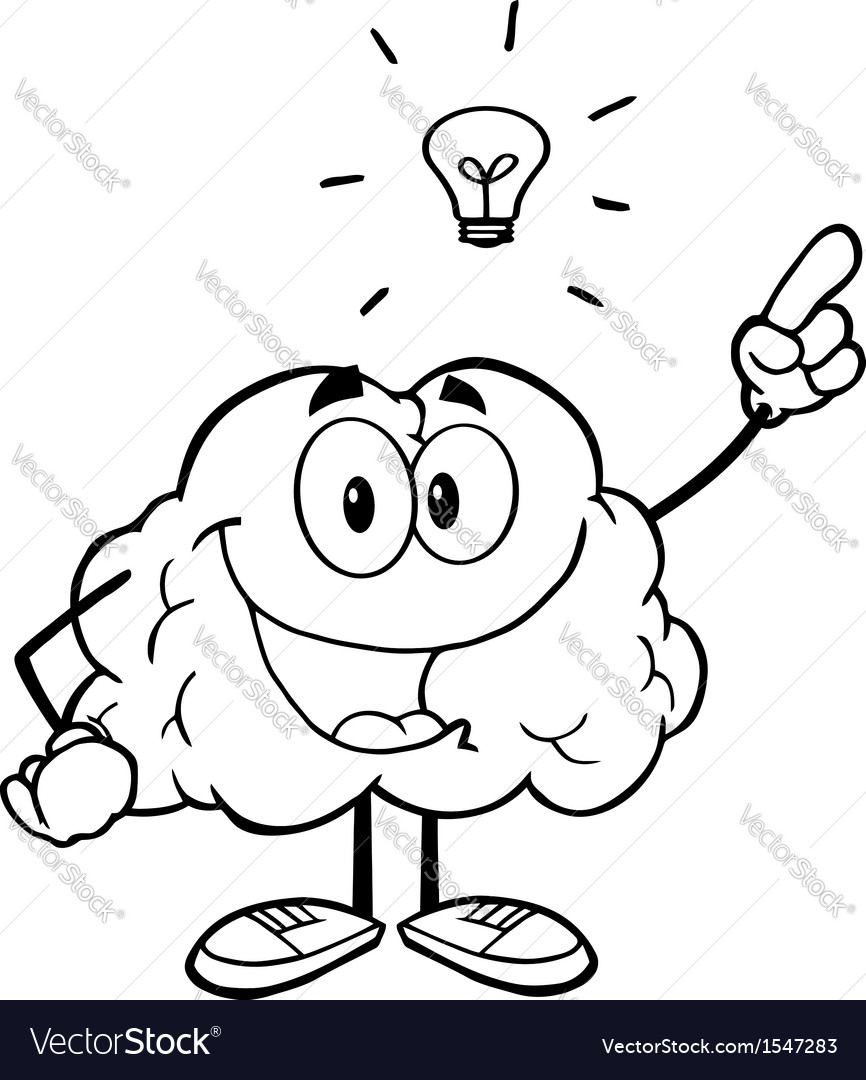Brain with a lightbulb idea vector