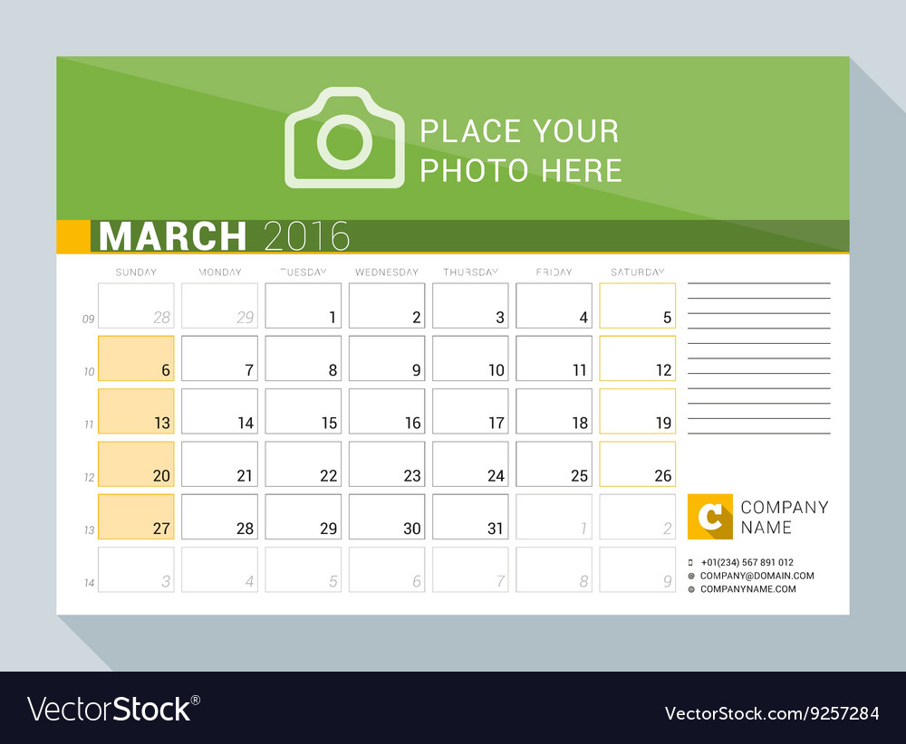 Calendar Planner Vector : Calendar planner for year march print vector by