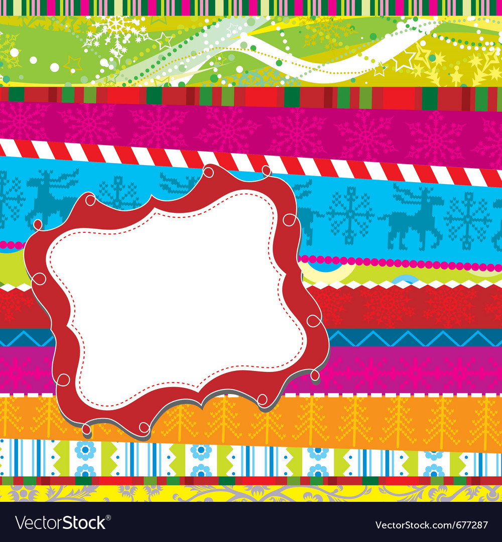 Scrapbook christmas patterns greeting card for des vector