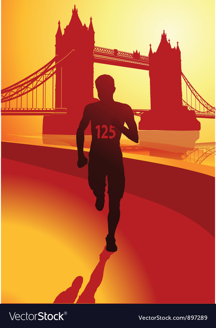 Runner in london vector