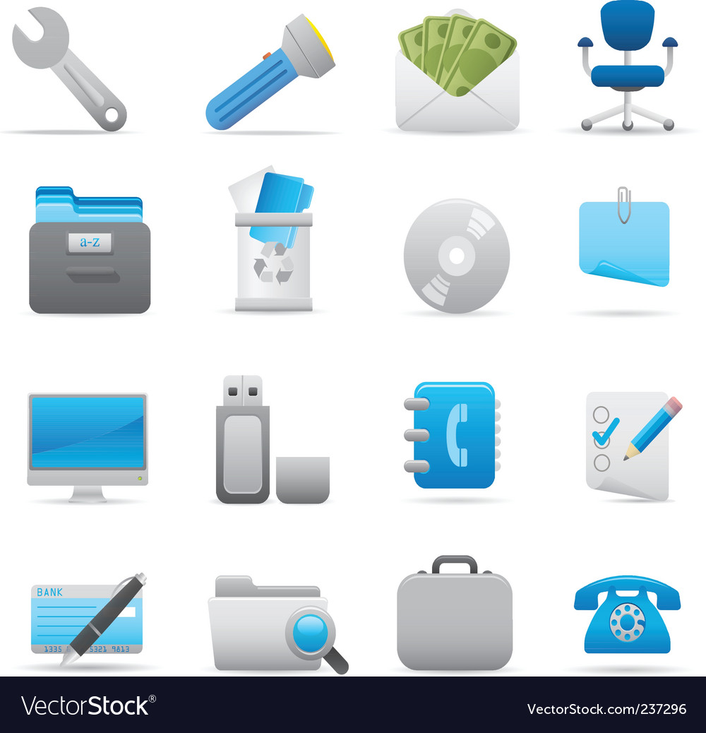 Office icons indigo vector
