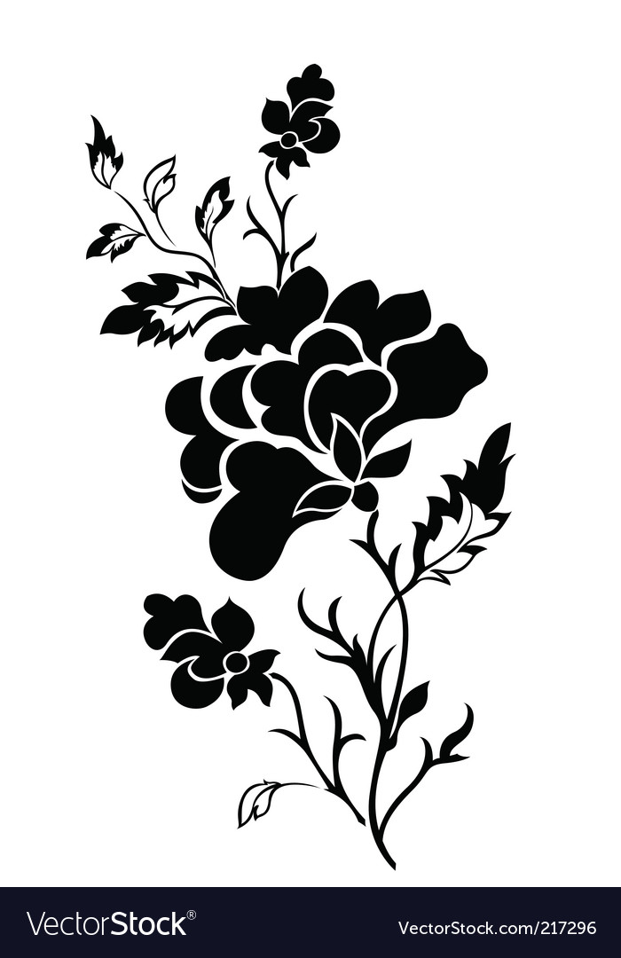 Vertical flower pattern rose tattoo vector