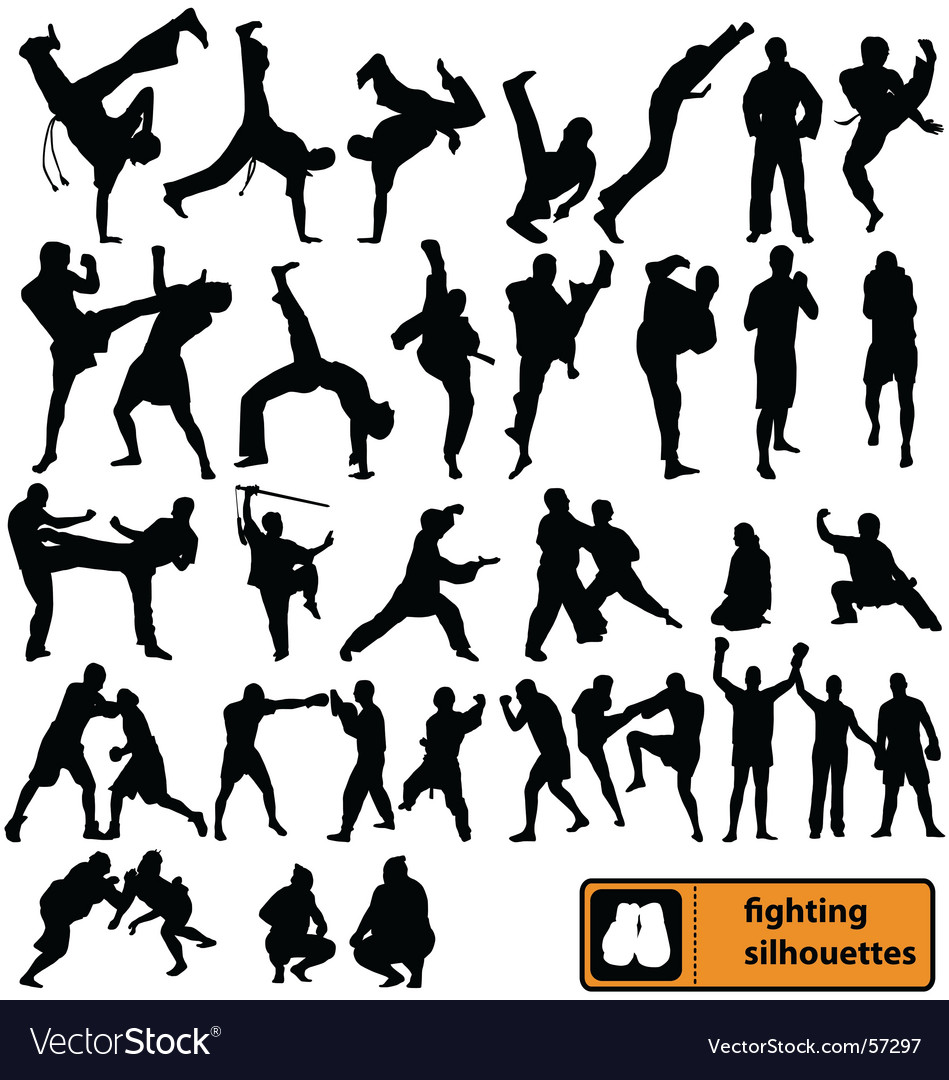 Fighting silhouettes vector