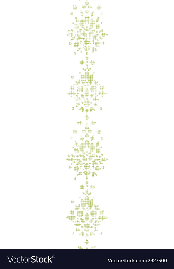 Green Textile Damask Flower Vertical Border Vector By