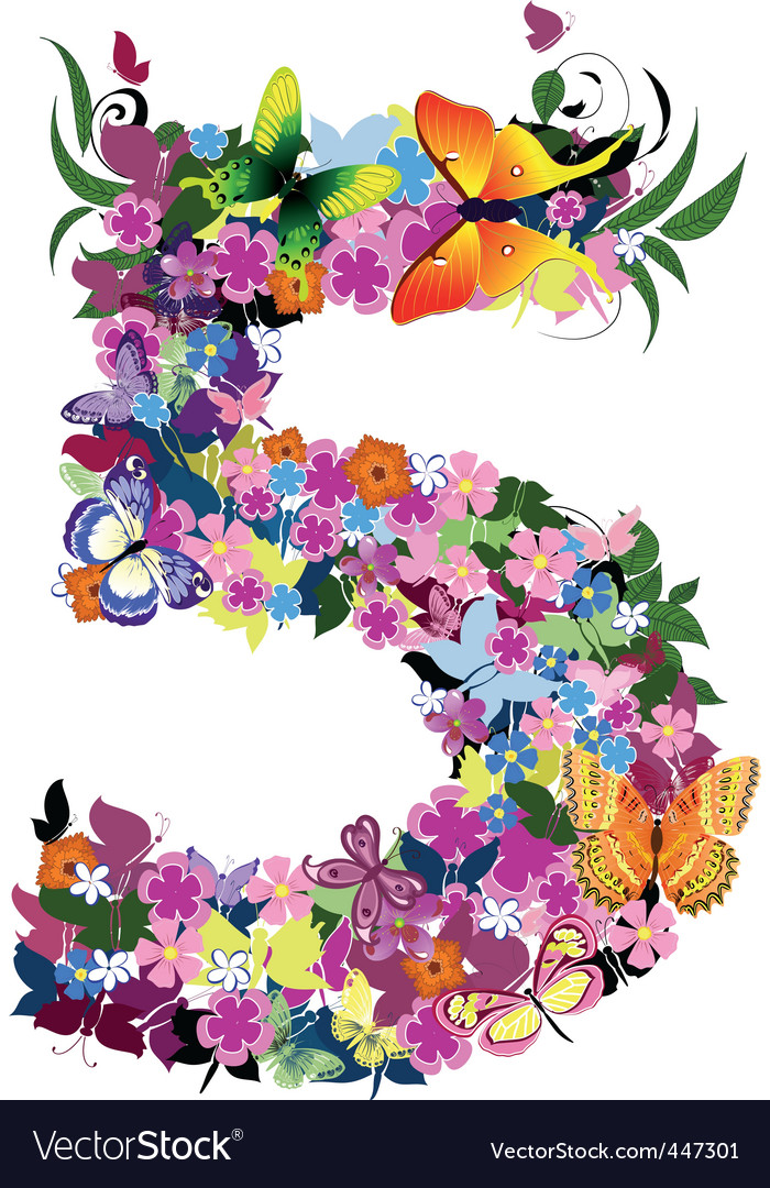 Number 5 Vector By Ksym Image 447301 Vectorstock