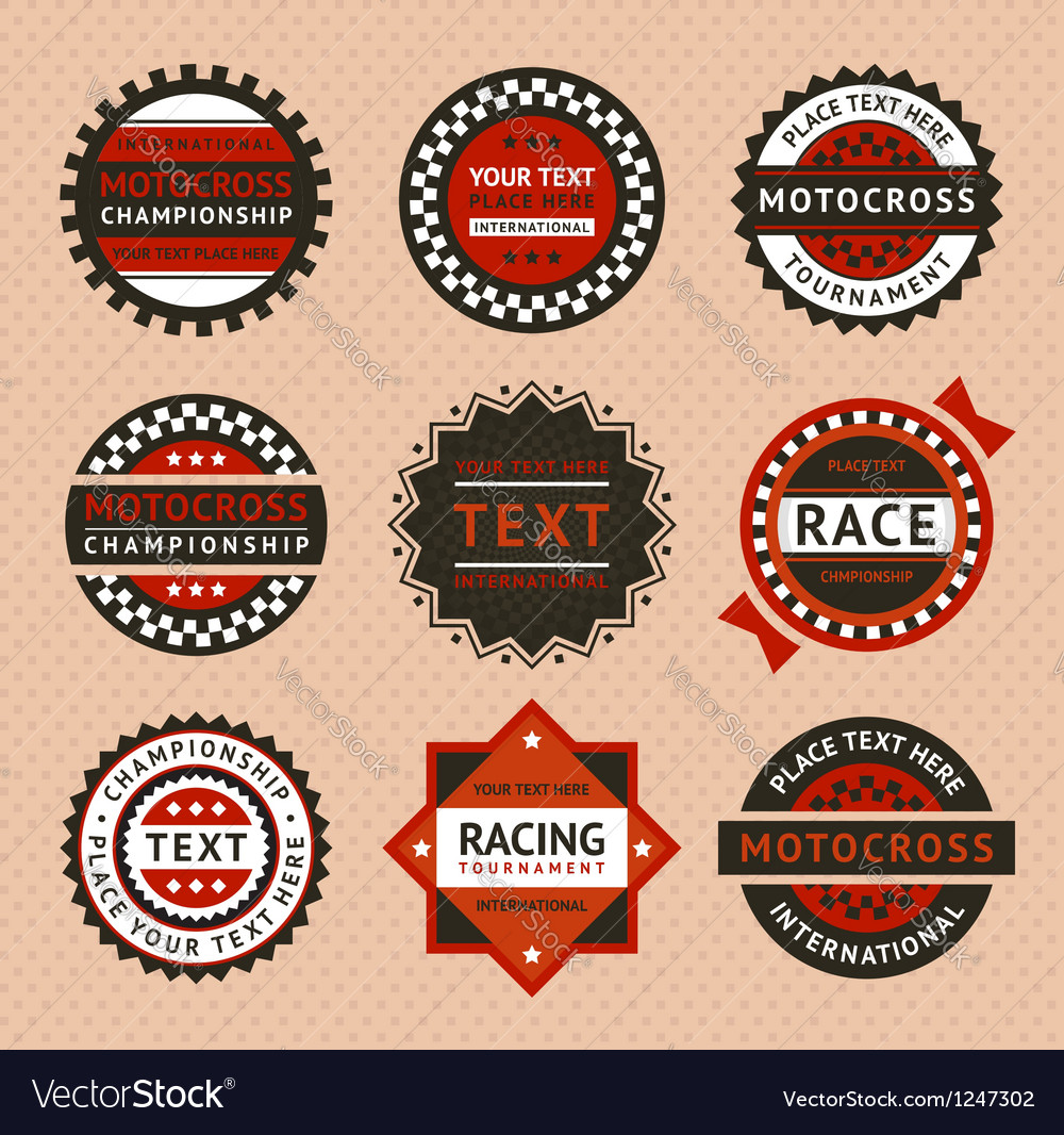 Racing labels  vintage style vector