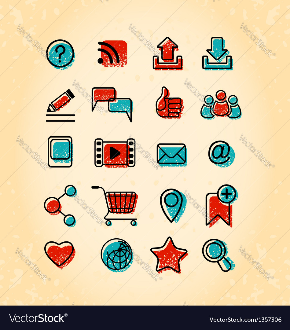 20 internet communication icons vector
