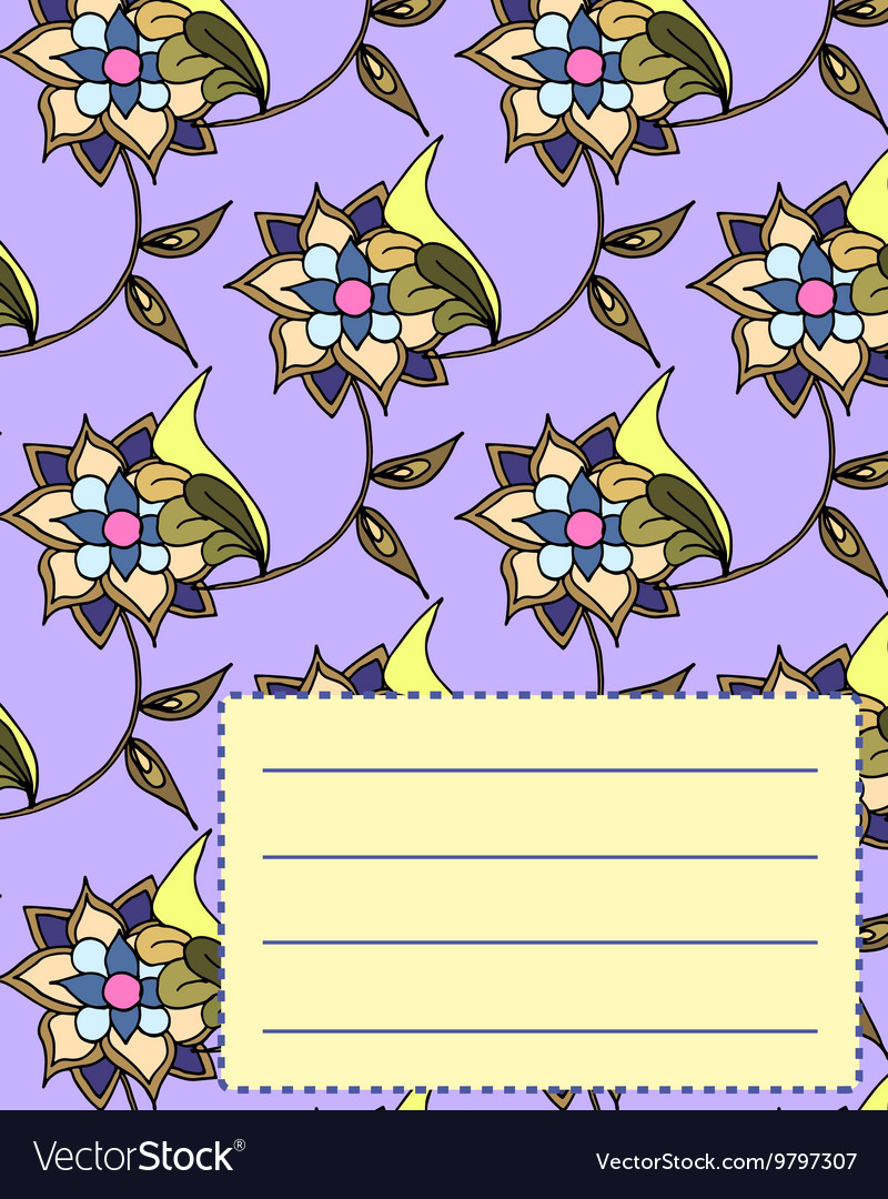 Free School Notebook Cover Vector : School notebook cover postcard invitation template free