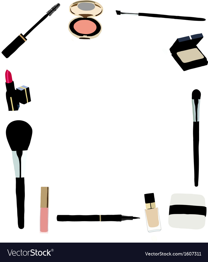 Makeup and cosmetics frame vector by eurngkwan image