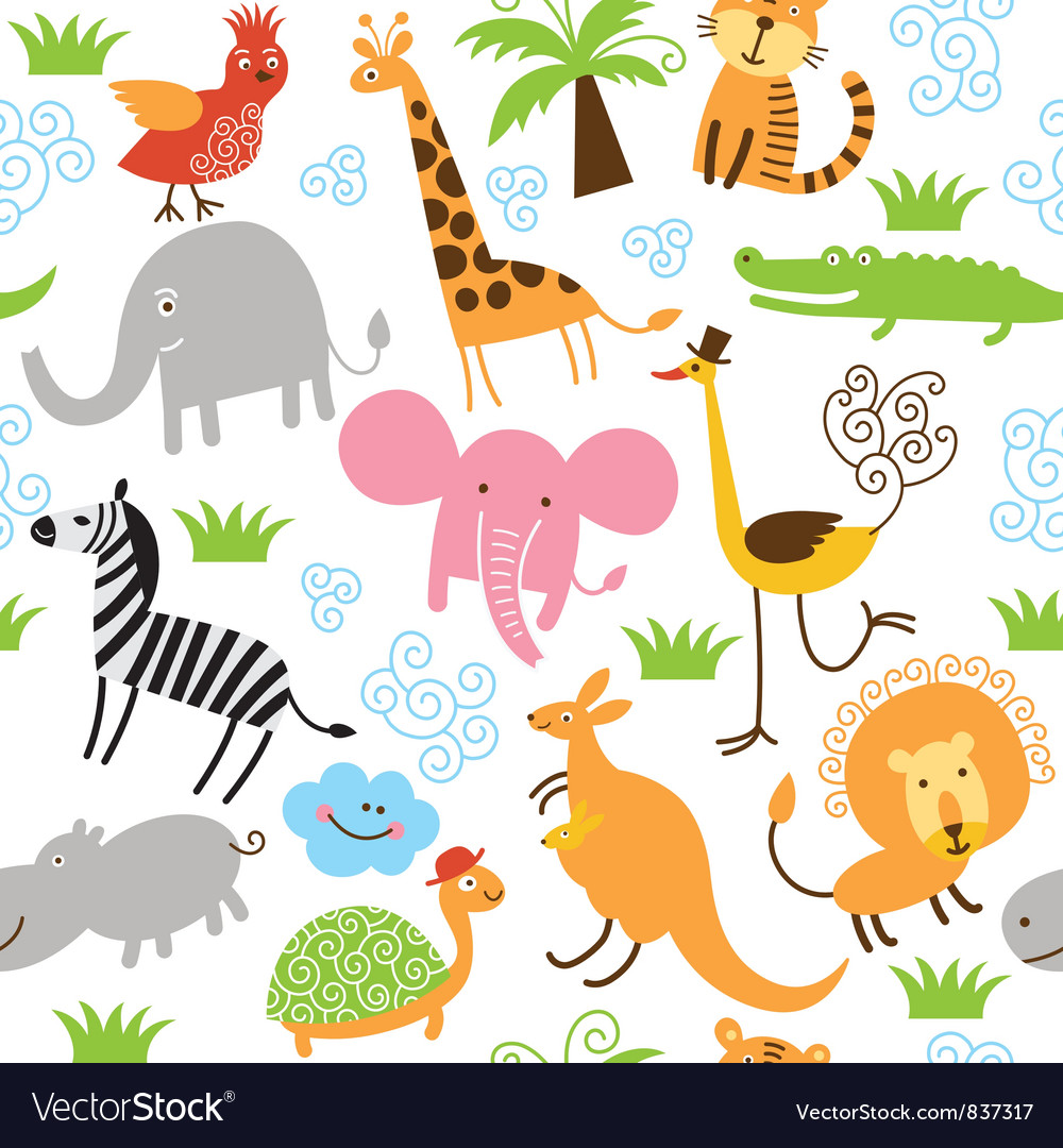 Seamless pattern with cute animals vector