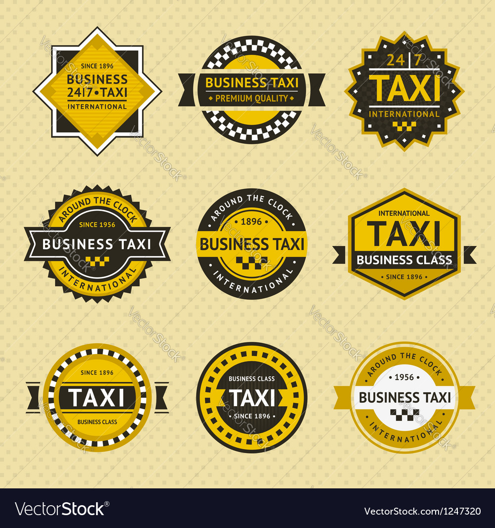 Taxi badges  vintage style vector