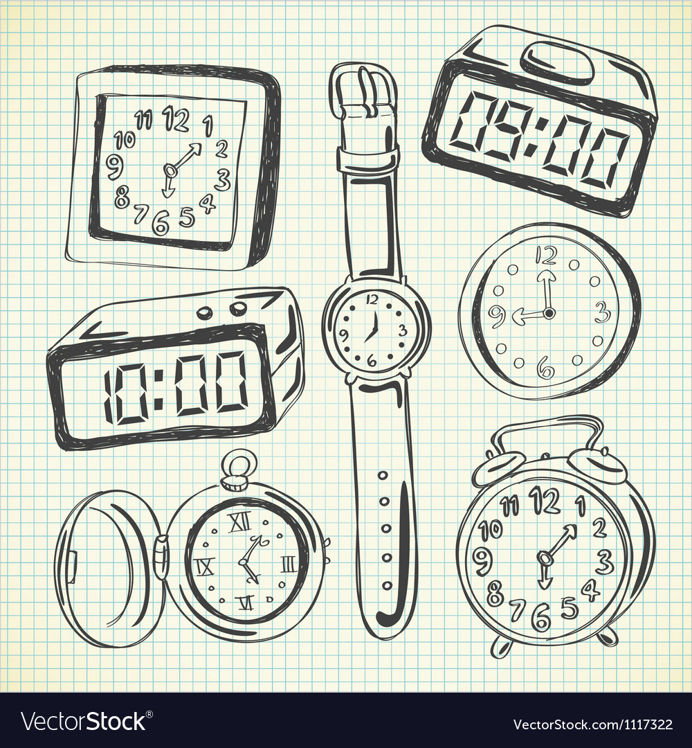 Set of various watch and clock doodle vector